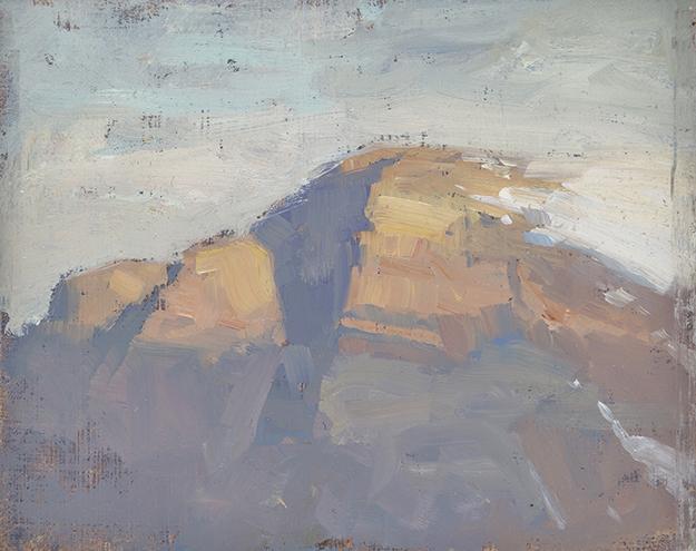 """""""Alpenglow, Switzerland (Plein Air)"""" - 4 x 5 in. - Oil on Panel"""