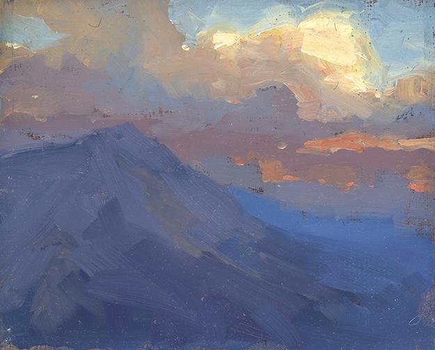 """""""Evening in Lucerne, Switzerland (Plein Air)"""" - 4 x 5 in. - Oil on Panel"""