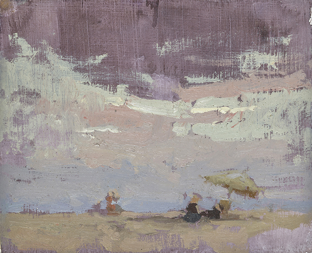 """Evenings on Barcelona Beaches #2 (Plein Air)"" - 4 x 5 in. - Oil on Panel"