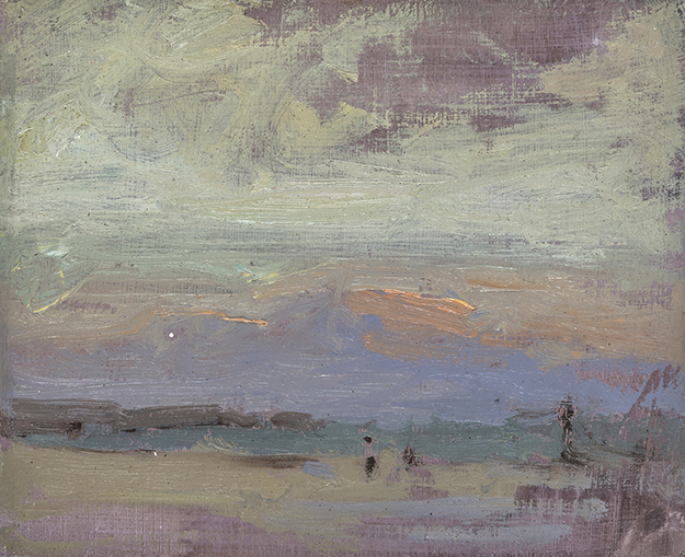 """Evenings on Barcelona Beaches #3 (Plein Air)"" - 4 x 5 in. - Oil on Panel"