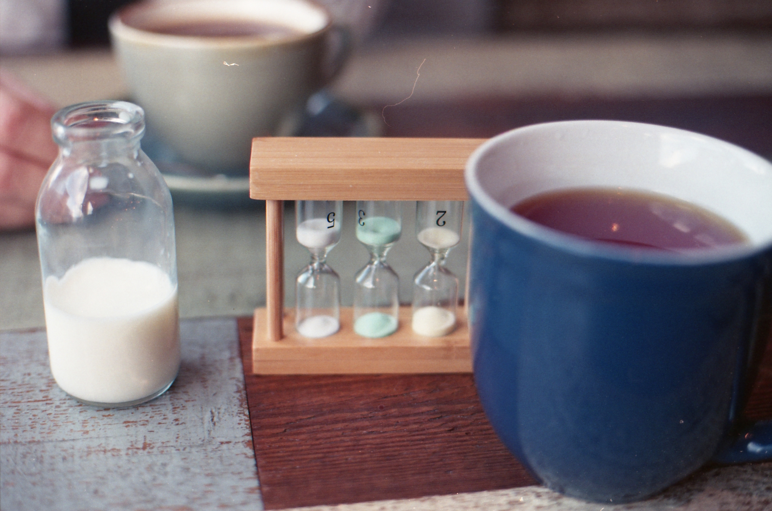 54/366 - How fun is this tea timer. I only leave mine about a minute and I don't have the milk but the little bottle is cute!