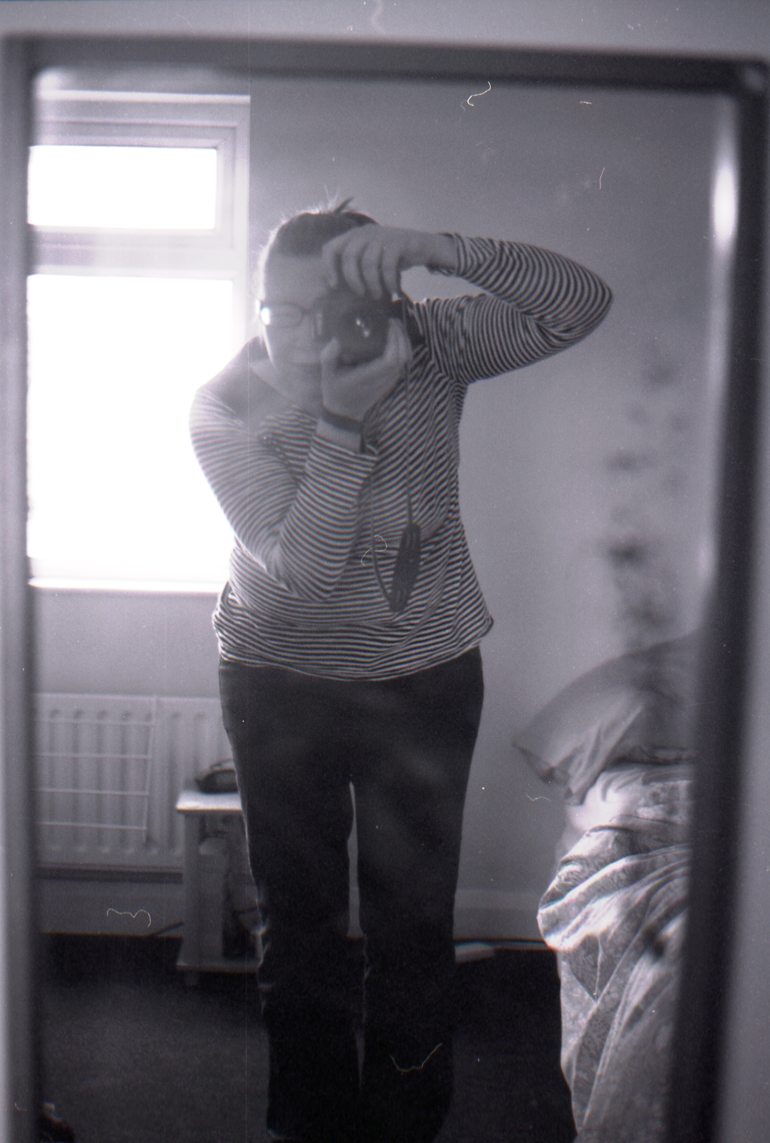 Day 108 - Oh hey! :) My trusty Canon EOS 750 and I in the dirty back room mirror ha. Classy