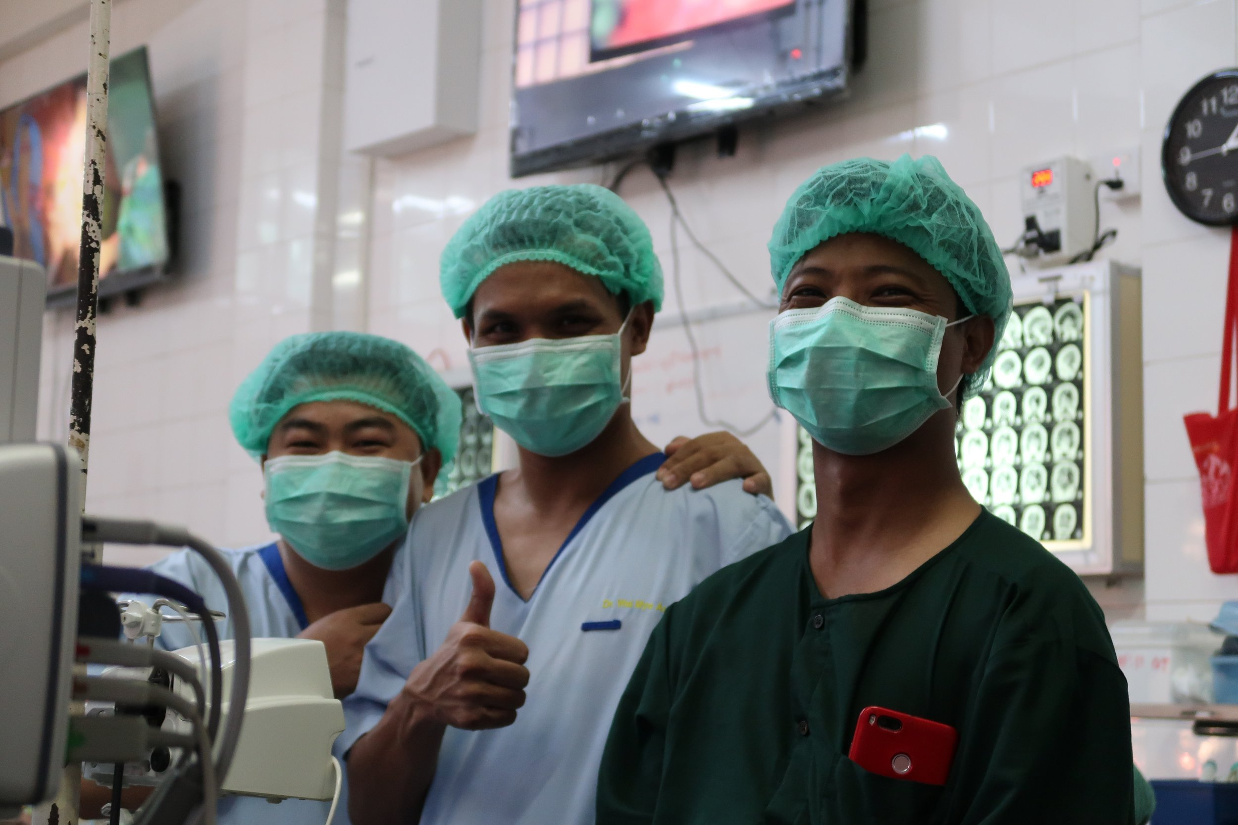 Neurosurgical residents at the University Hospital in Mandalay
