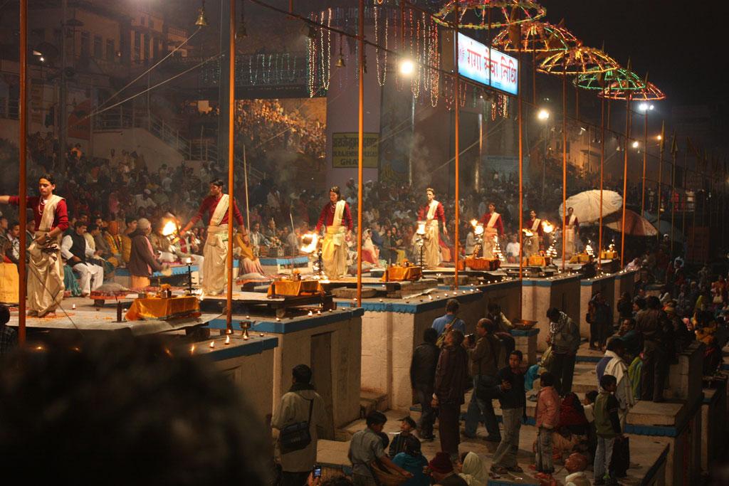 Prayers on the riverbank at Varanasi Photo credit:  Arian Zwegers