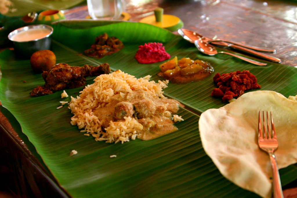 A south Indian  thali  is traditionally served on a banana leaf Photo credit:  Sonja Pieper