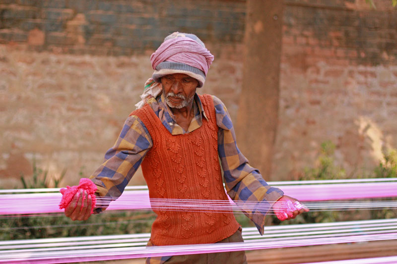 Making the kite-cutting line ( manjha ) Photo credit:  Meena Kadri
