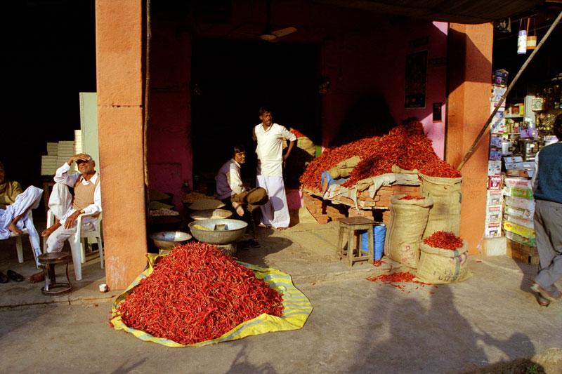 Chillies at Jaipur market Photo credit:  enjosmith