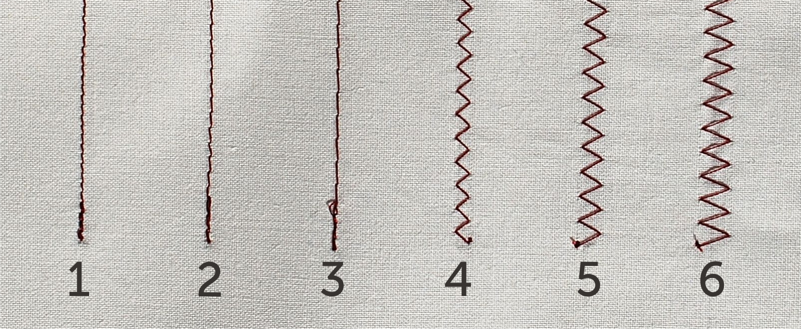 Pictured above are examples of different stitch lengths and widths. See below for a description of each.