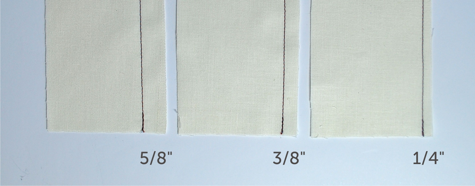 Above is an image showing different seam allowances. 5/8 inch = 1.6cm, 3/8 inch = 1 cm, and 1/4 inch = 0.6cm