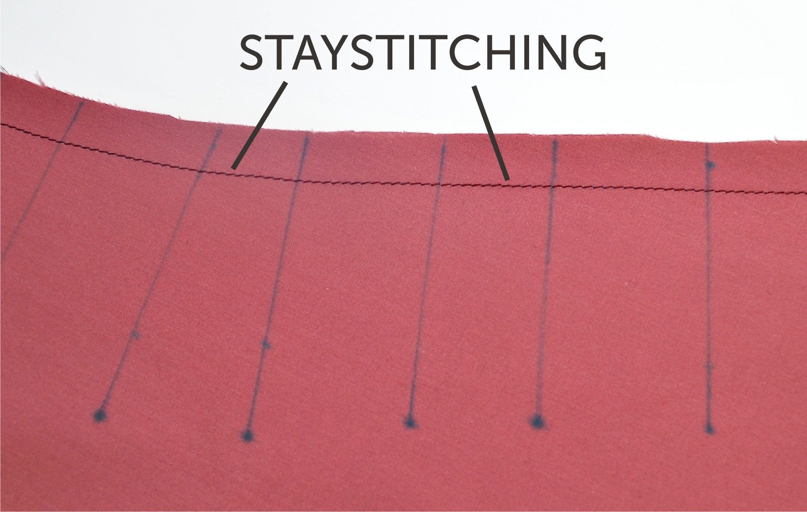 This is the staystiching along the waistline front of version 2. See step one (page 23) in the paper pattern.