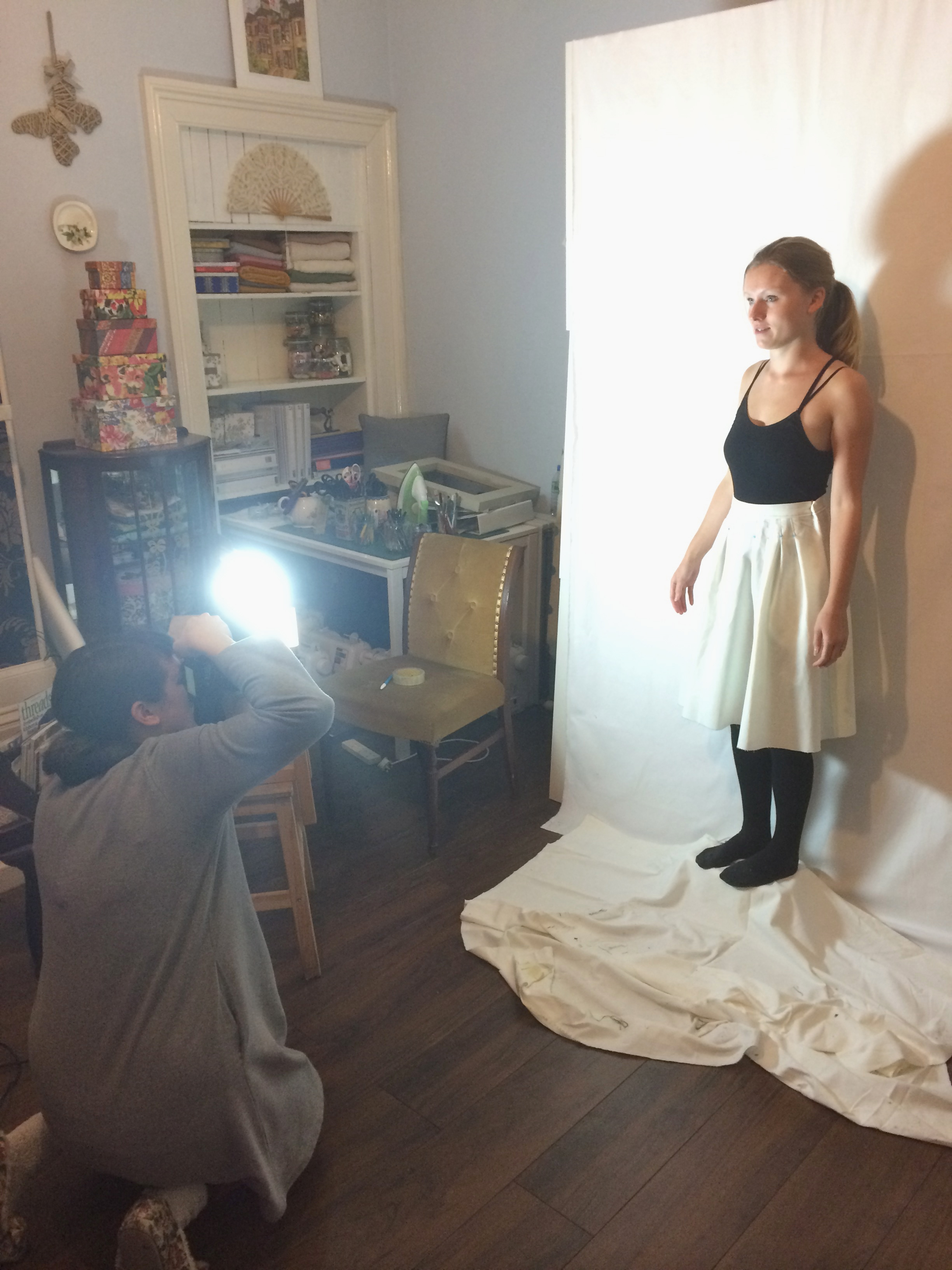 Photographing Naomi in her toile for one of the first posts.