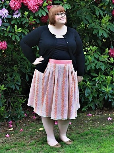 Yvonne in her Japanese floral print skirt