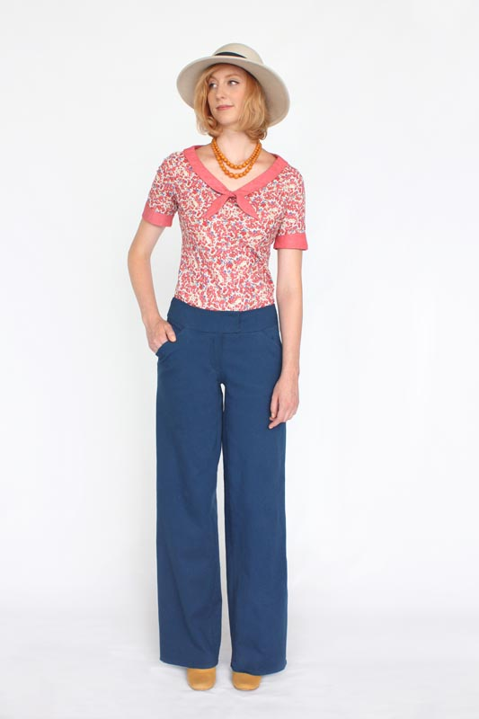 JUNIPER  Colette  Classic wide-leg trousers perfectly fitted through the hips and falling gently to a moderately wide hem. This pattern will guide you through sewing slash pockets and a fly front. With a simple construction and flattering shape, you can practice new skills while creating a wardrobe staple.