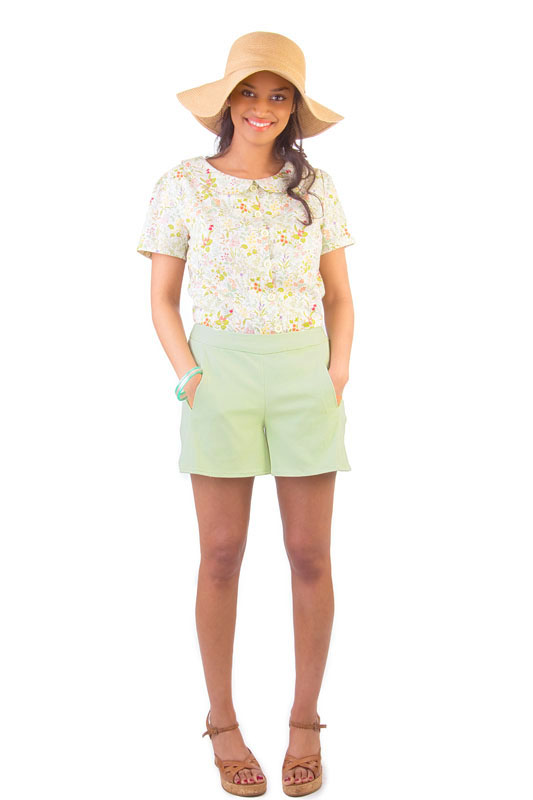 IRIS  Colette  These simple and cute shorts are so quick to sew, you could make them in every color. Pockets are set into a front side seam and optionally close with buttons. The shorts sport a 4 1/2 inch inseam length and close with an invisible side zipper.
