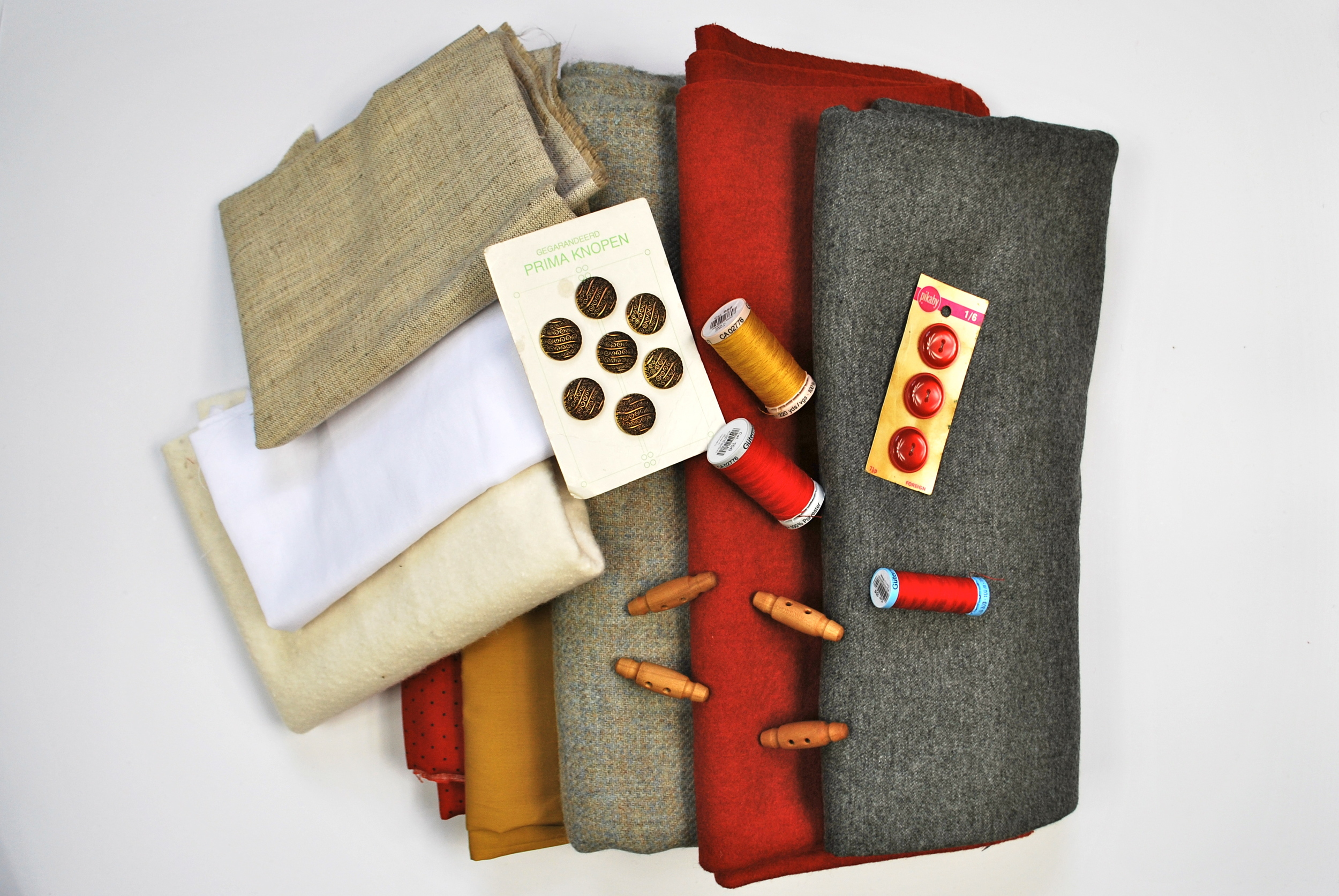 Fabrics suitable for jacket/coat construction, plus some buttons, toggles and Gutermann Thread.