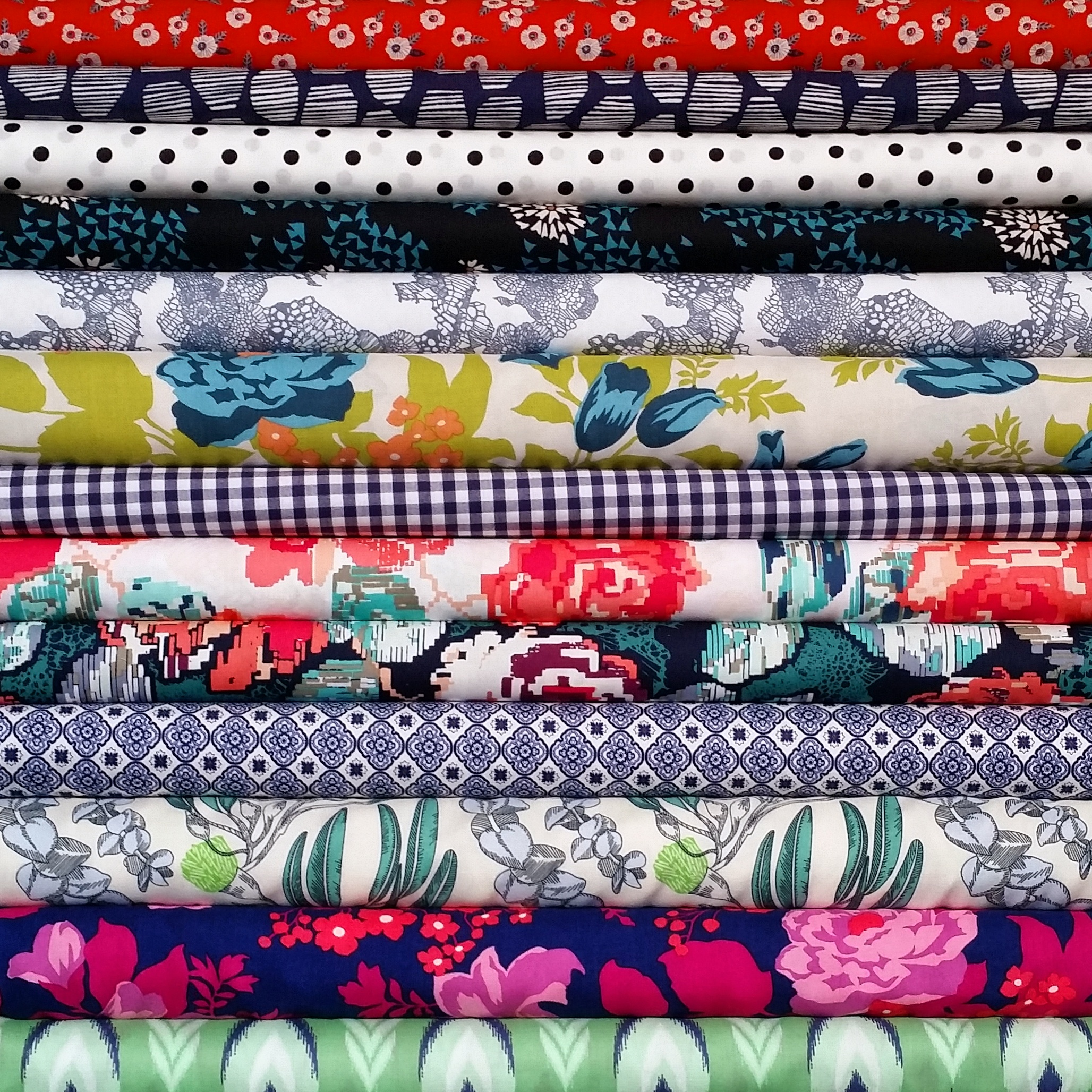 A selection of fabrics from The Splendid Stitch