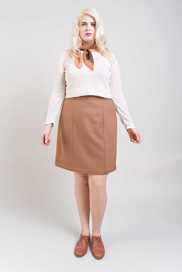 SELENE SKIRT  Colette  Show off your love for vintage influence style in a modern pencil skirt that boasts classic details. This wardrobe staple is professional, fun, and flattering. Selene's body-hugging shape shows off your curves no matter what. Selene combines a contemporary silhouette with timeless details such as a lapped zipper, welt pockets, and a finished vent. Take on a new sewing challenge and tackle the welt pockets on Version 2, or enjoy the simplicity and ease of sewing Version 1.