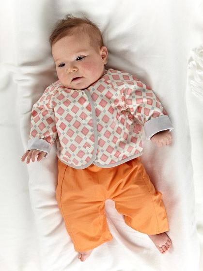 LULLABY LAYETTE  by Oliver + S  A unisex, four piece set of baby clothes for newborns.  Students will focus on one piece, with the option to make more if time permits.