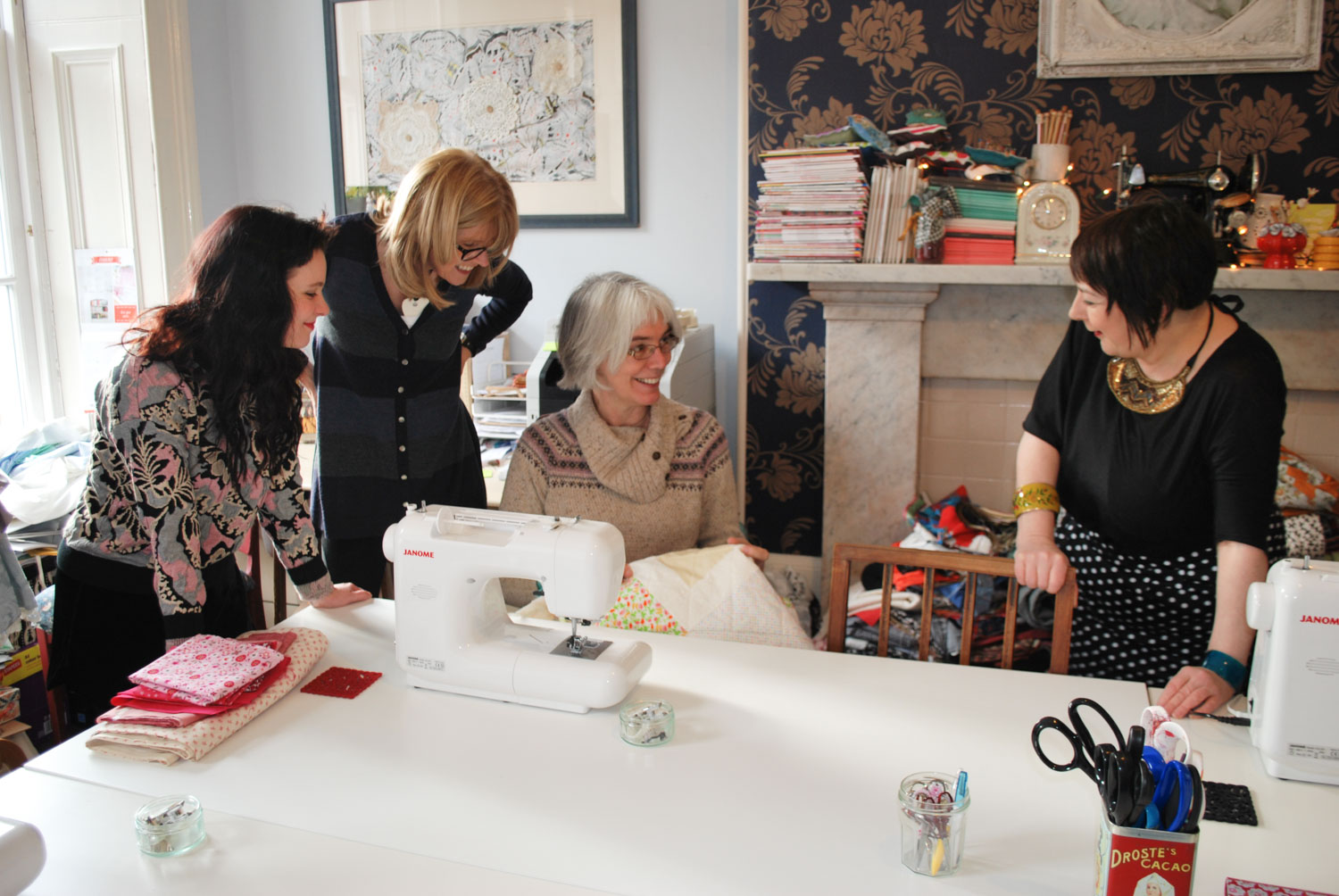 Some quilters from our course here at The Stitchery (actually this is from when we used to have the studio in our flat!)