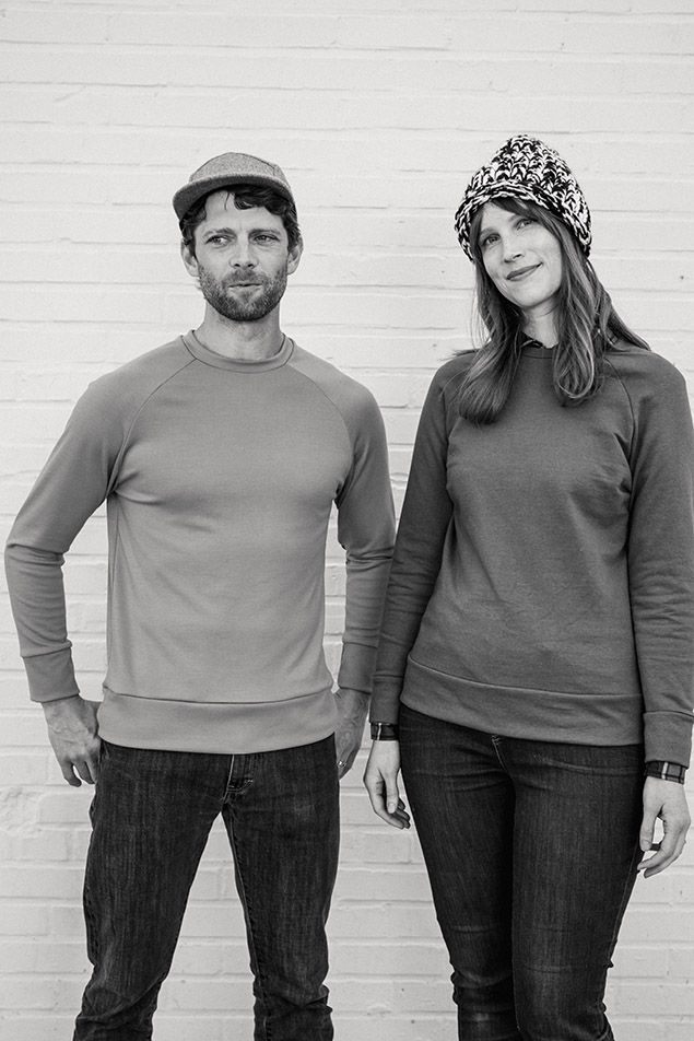 PAXSON SWEATSHIRT  by  Seamwork   This fitted pullover has a crew neck, waistband, and cuffed raglan sleeves. Elbow patches in leather, felt, or a woven fabric give this sweater classic appeal.  Paxson is a unisex pullover, and will become a new staple during the cooler weather. Sew it up in a French terry for a comfortable, casual look. Or try making Paxson in a luxurious wool jersey and layer it with a favourite button-up shirt.