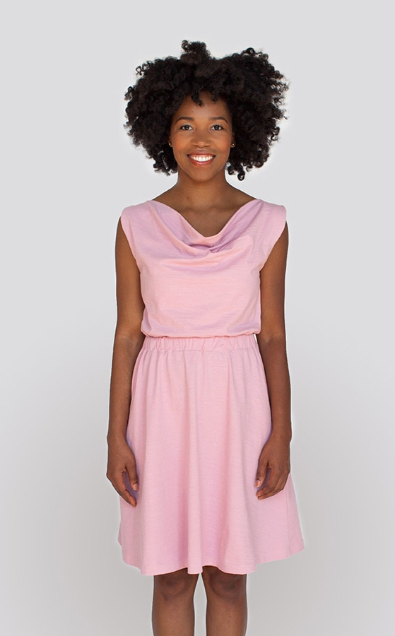 MYRTLE DRESS  by Colette  Myrtle has a beautifully draped cowl neckline, a comfortable and figure skimming elasticised waist, and a flowing gathered skirt with in-seam pockets.  The skirt of Version 1 falls just below the knee. Version 2 features adjustable button-on shoulder tabs and an above-the-knee hemline.