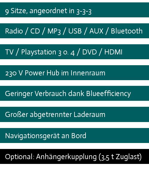 """MB Sprinter Tourbus für Bands mit langem Radstand, 313 CDI, 9 Sitze, 129 PS, Radio mit CD, MP3, USB, AUX und Bluetooth, 18,5"""" TV mit HDMI und DVD, geringer Verbrauch dank Blueefficiency, großer abgetrennter Laderaum, Anhängerkuppkung, Playstation 3 und Navi."""