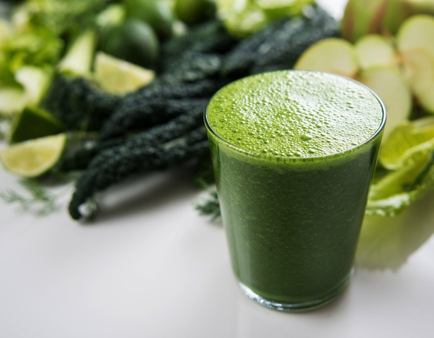 There's nothing like a green drink first thing in the morning. Try a superfood powder like Vitamineral Green or make your own green juice out of cucumber, kale, cilantro, apple, lime and celery. Get creative!