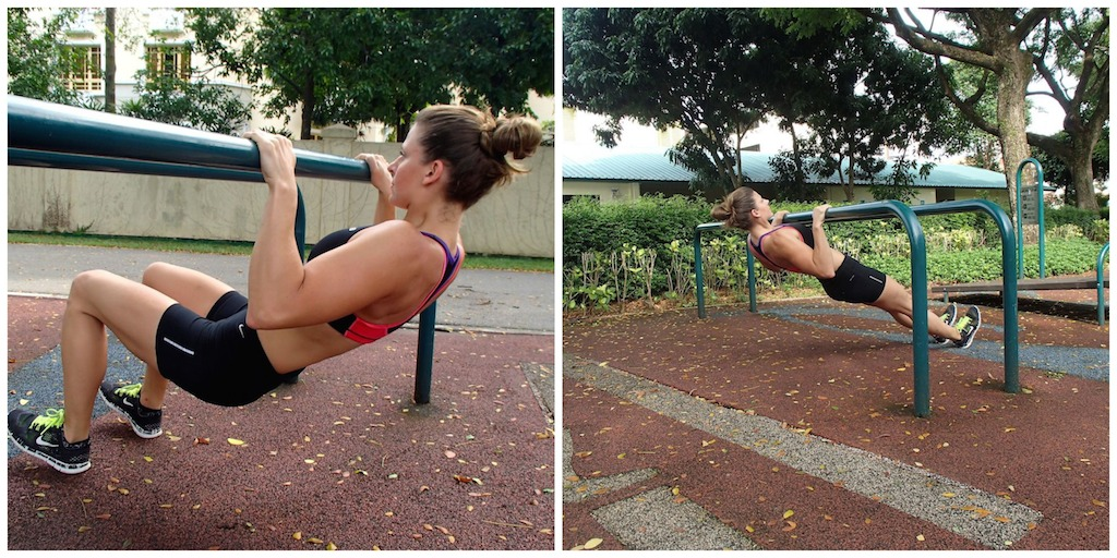 Begin on a low bar with your knees bent, heels planted into the ground. This will provide added support. As you progress and are able to do 15-20 low bar pull-ups with bent knees, extend your legs straight.