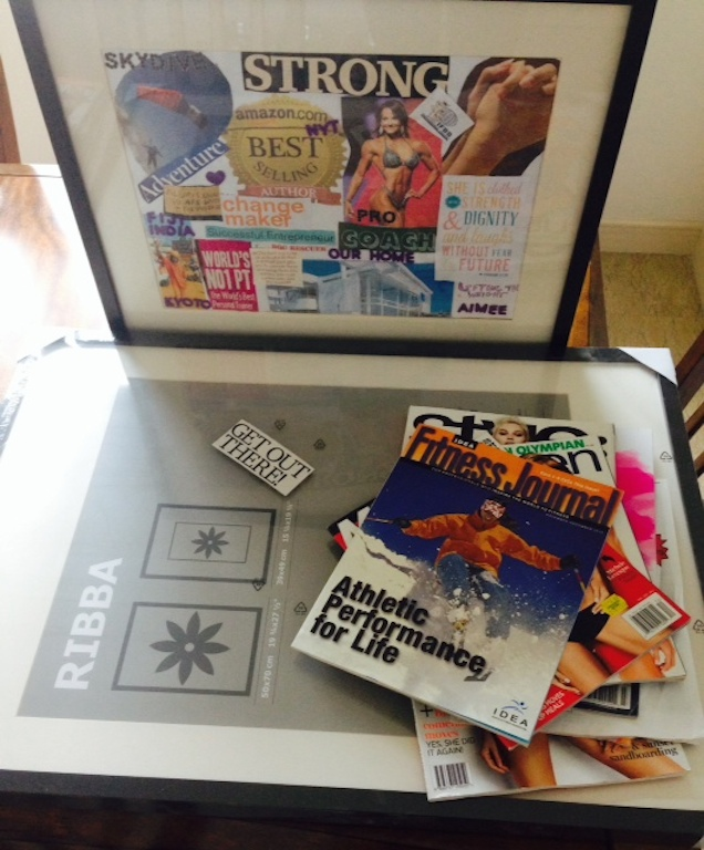 Creating my new Vision Board for 2015 and assessing the old one. I accomplished a few biggies this year!