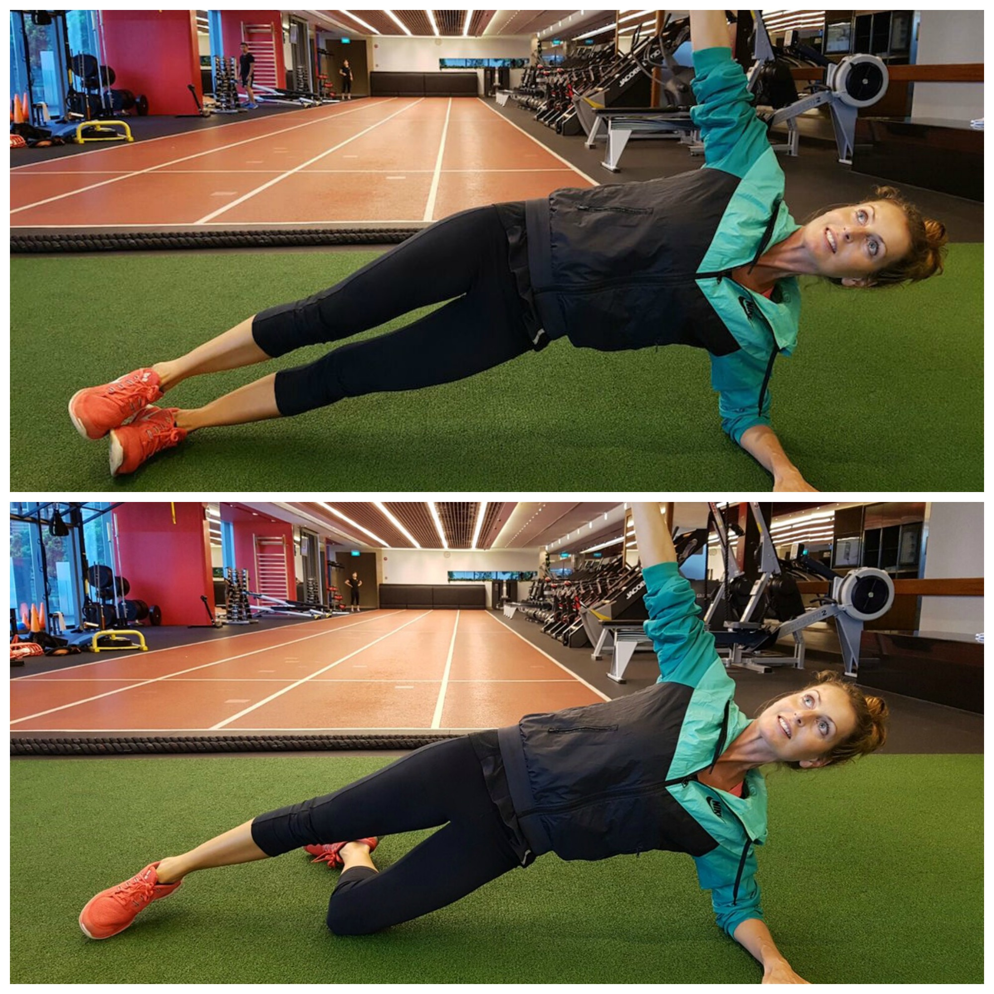 Oblique Side Plank, with modified version at the bottom