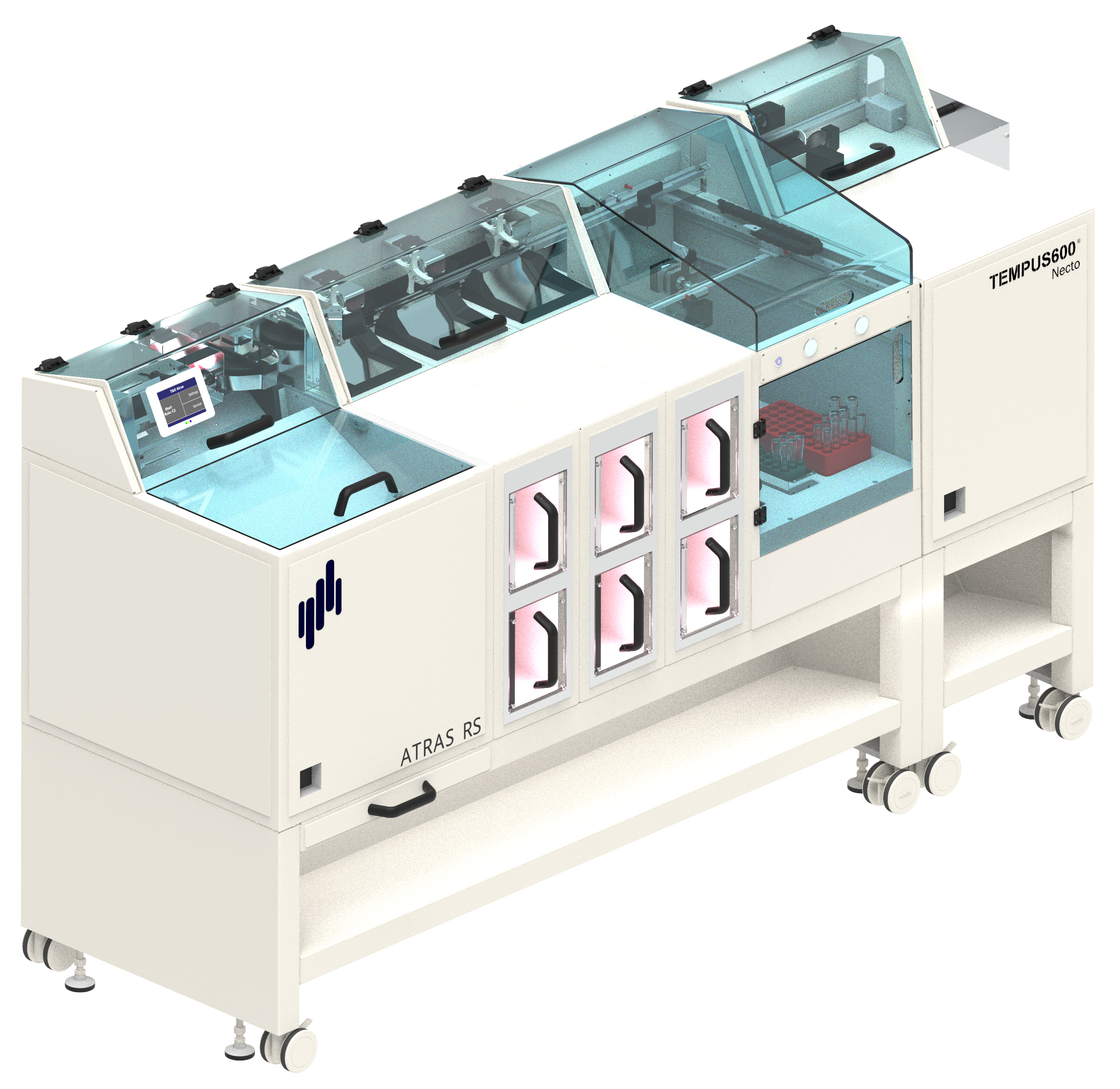 The ATRAS Necto registers sample tubes, sorts them into bulk and rack target modules, and sends the specimen via a pneumatic sending station with Tempus600 to their next destination in the laboratory.