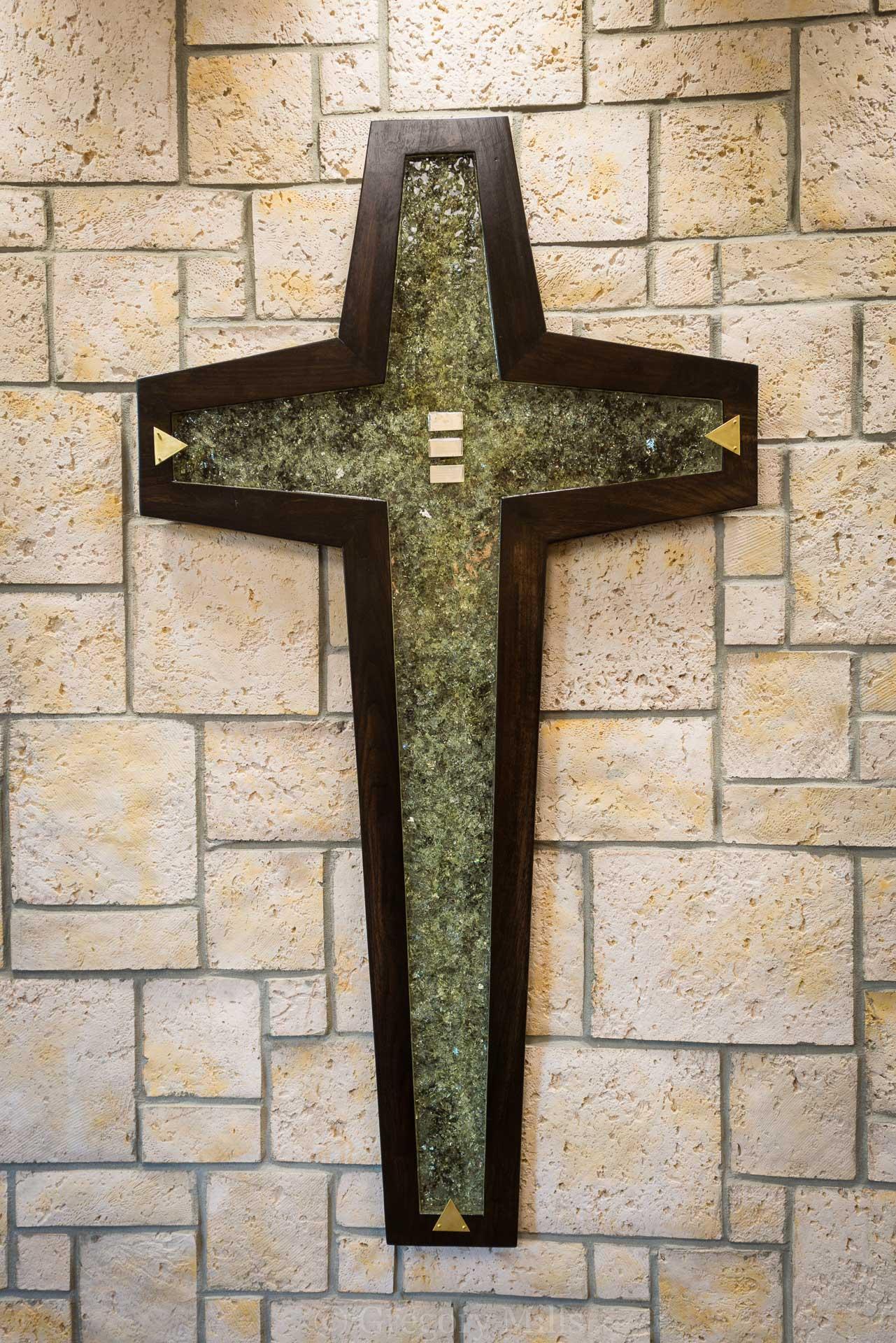 Cross Made with Broken Glass