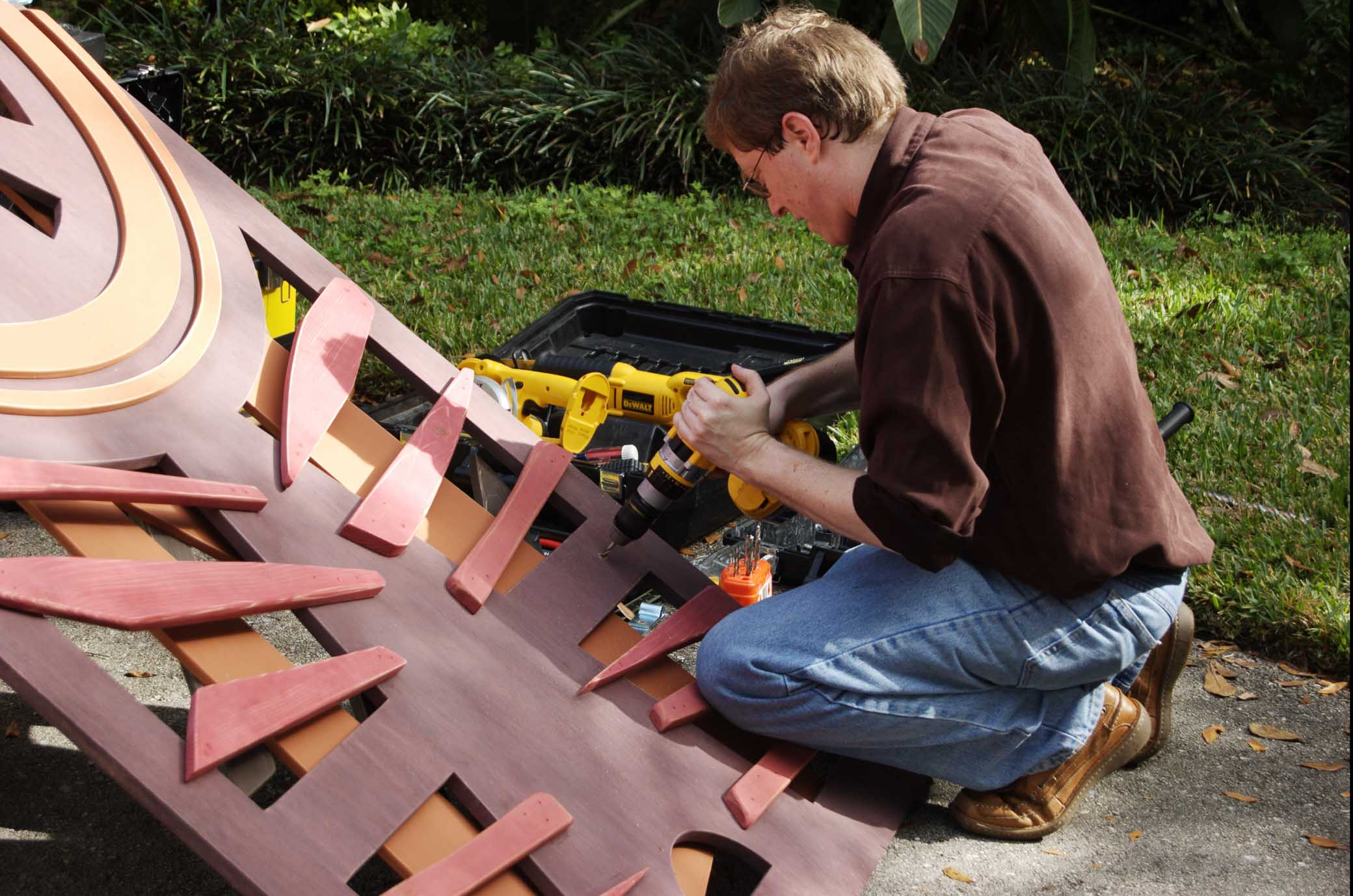 Gregory Mills fabricationg one of his sculptures for a private home in Winter Haven, Florida