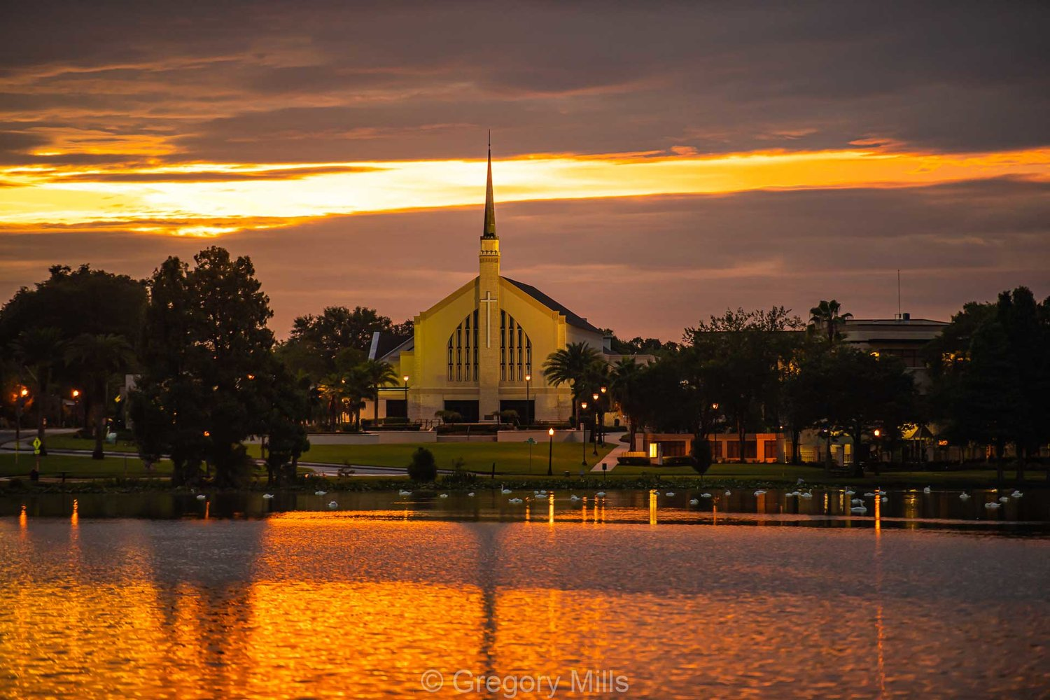 First United Methodist Church in Lakeland, FL sits on overlooking Lake Morton