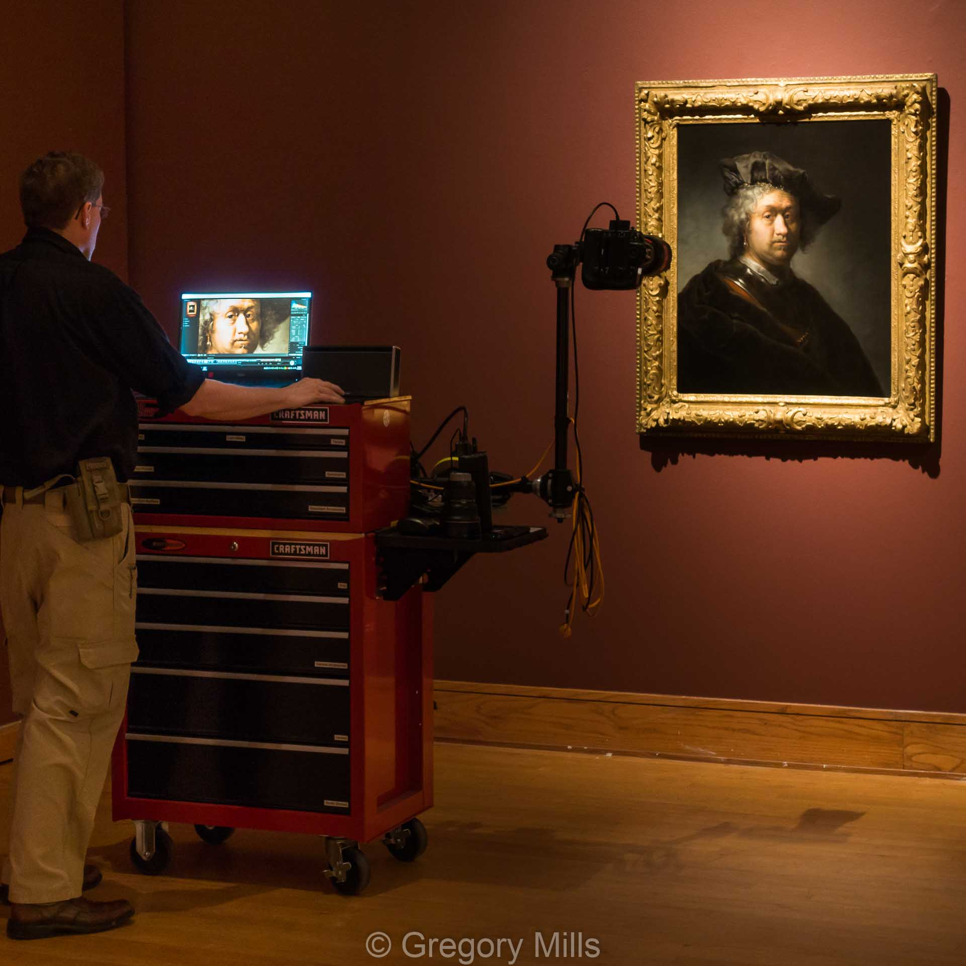 Here I am photographing a portrait of Rembrandt by one of his students using a tethered Nikon D800E which uploads directly into my laptop as I take each photo to make sure it is sharp and in focus.