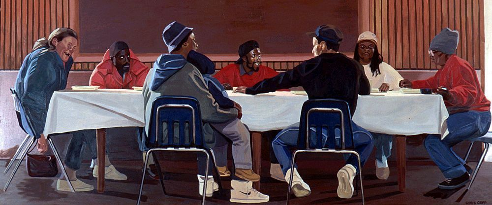 The mural in the Community Soup Kitchen dining room.