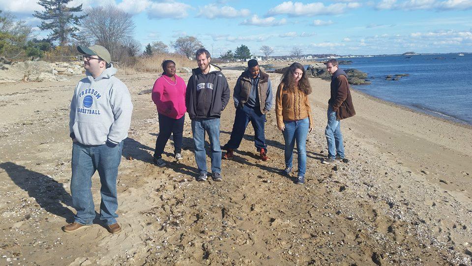 The Hildans on retreat. On a beach.