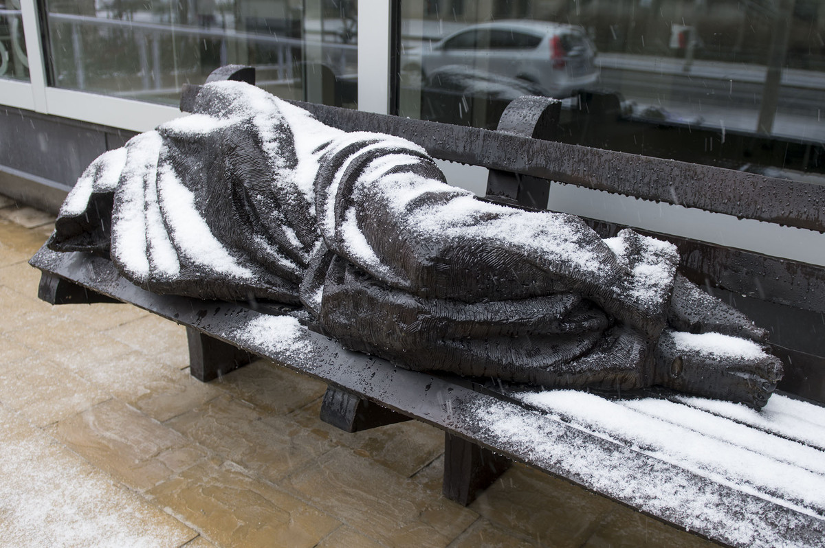 Jesus the Homeless, sculpted by Timothy Schmalz (source:  Huffington Post )
