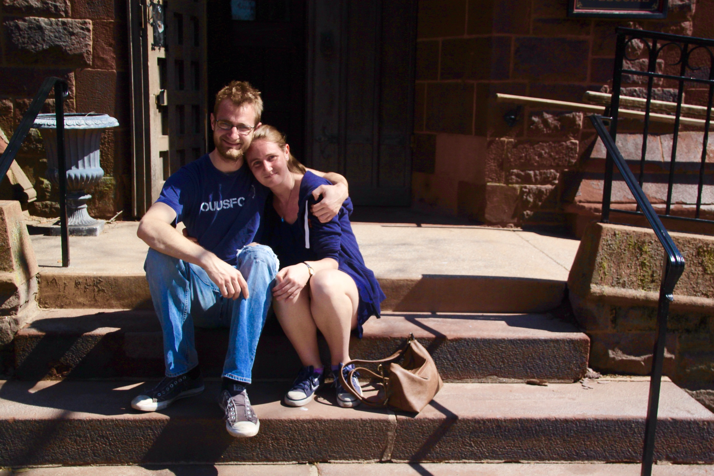 With my sister on the steps of Christ Church- two days after her 23rd birthday, the day before my 25th.