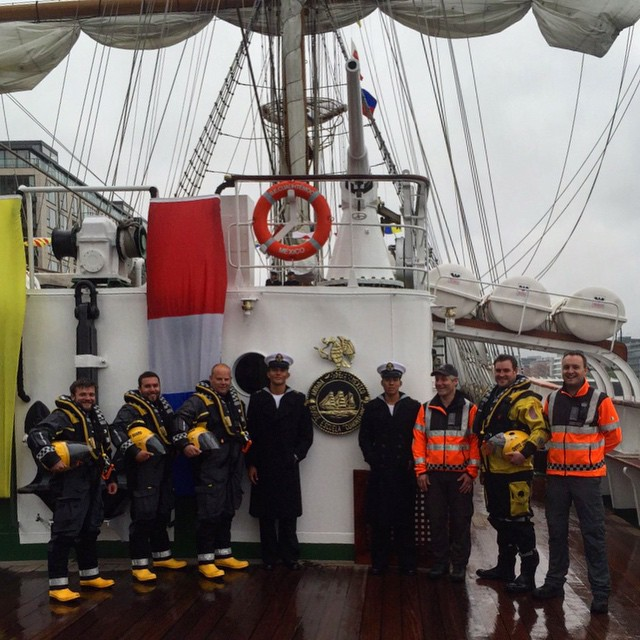 #coastguard visit to the Mexican navy #tallship Cuauhtemoc yesterday evening. #irishcoastguard