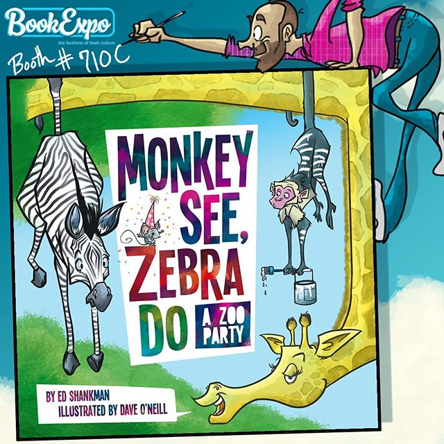 "We'll be at @bookexpo NY this Thursday May 30 at 11AM, showing off reader copies of our latest, ""Monkey See, Zebra Do—A Zoo Party!"" Illustrator Dave O'Neill will be on hand to sign copies and talk about illustrating, working with author Ed Shankman and the dangers of painting elephants. Find him at booth 710C with @applewoodbooks and Ingram Content Group. #kidlitart #kidlit #kidlitartist #bookexpo #childrensillustration #zoobook #shankmanoneill #childrensbooks #childrensauthor"
