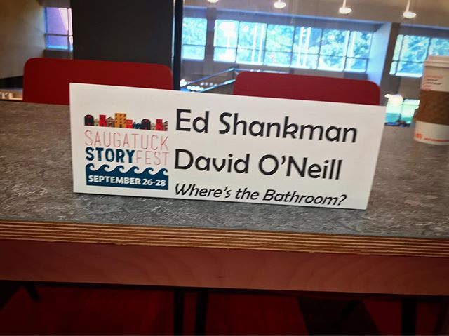 """This cracks us up because the very idea for """"Where's the Bathroom"""" was conceived at a book signing table just like this. People kept approaching us and asking """"excuse me, where's the bathroom?"""" That's right folks. That's how great ideas are born."""