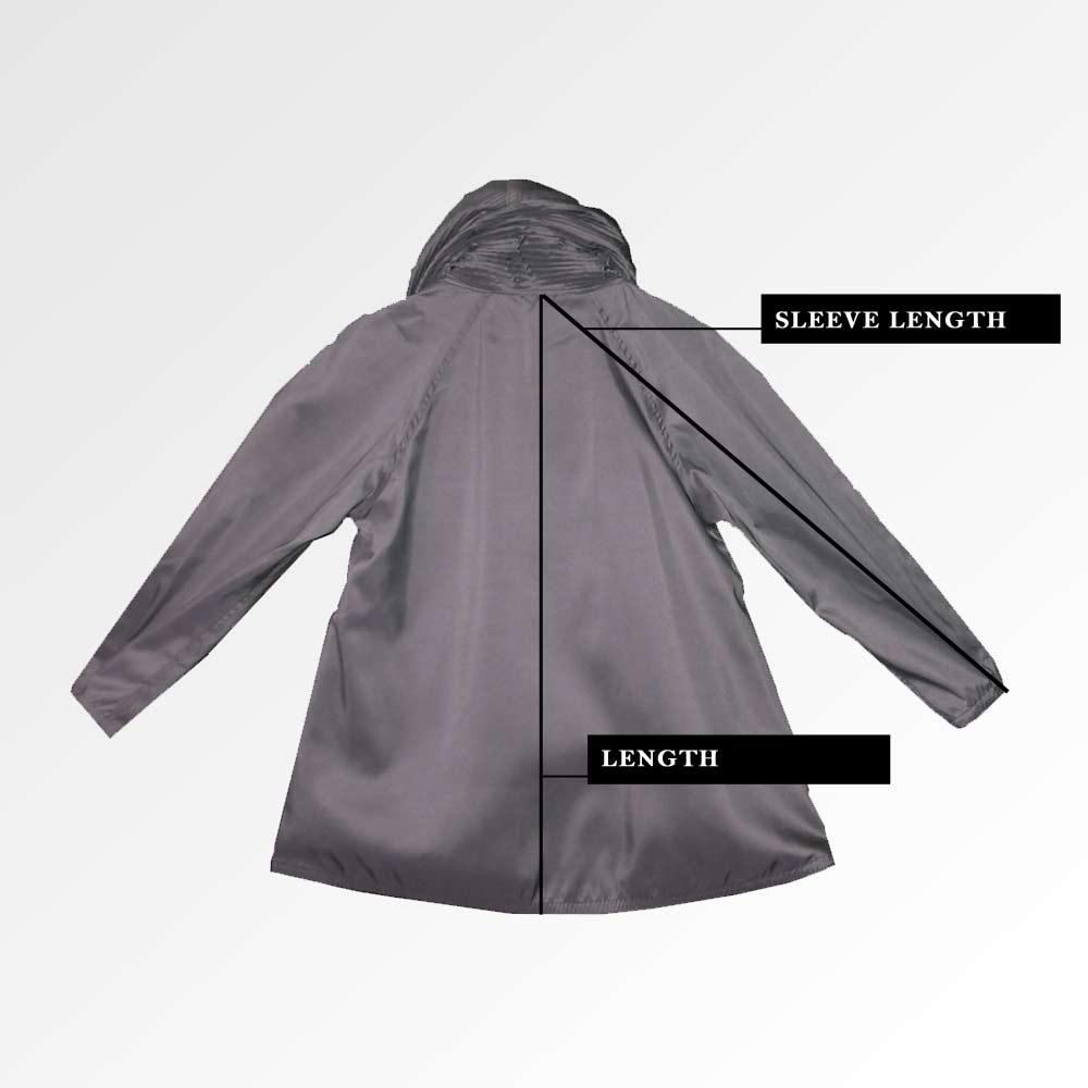Back of Mycra Pac Mini Raincoat size chart measurement guide