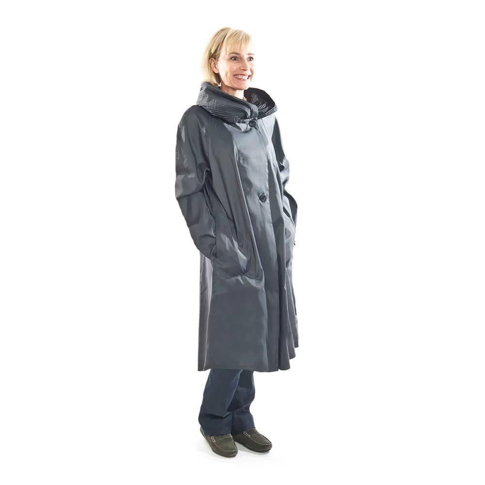 Mycra Pac Gray Raincoat shiops to Switzerland International Priority Mail.