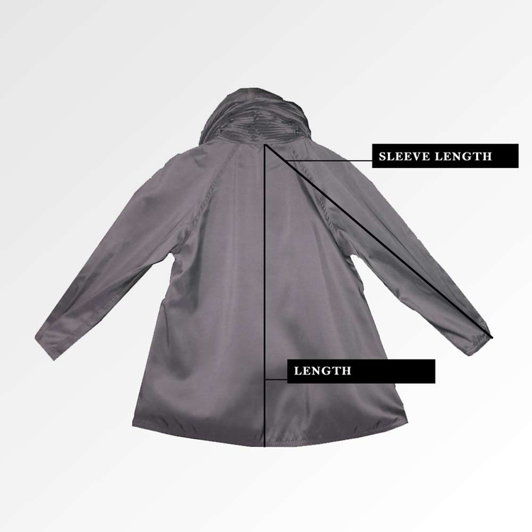 Back of Donatella Mini Raincoat How to Measure Guide