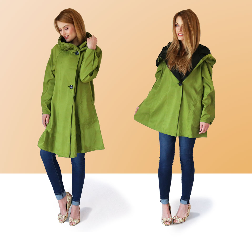 Grass Green Mcyra Pac Raincoat in Short and Mini Length