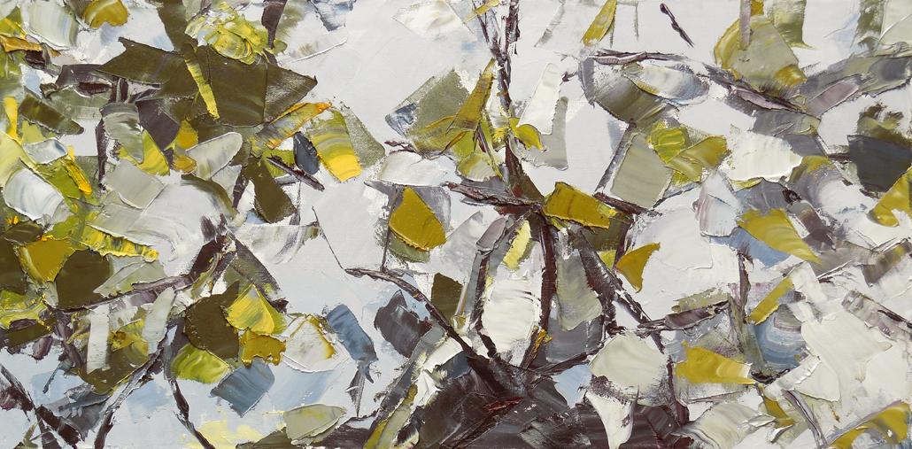 "Julie Devine,  Storm Watch,  2013 Oil on canvas, 15"" x 30"""