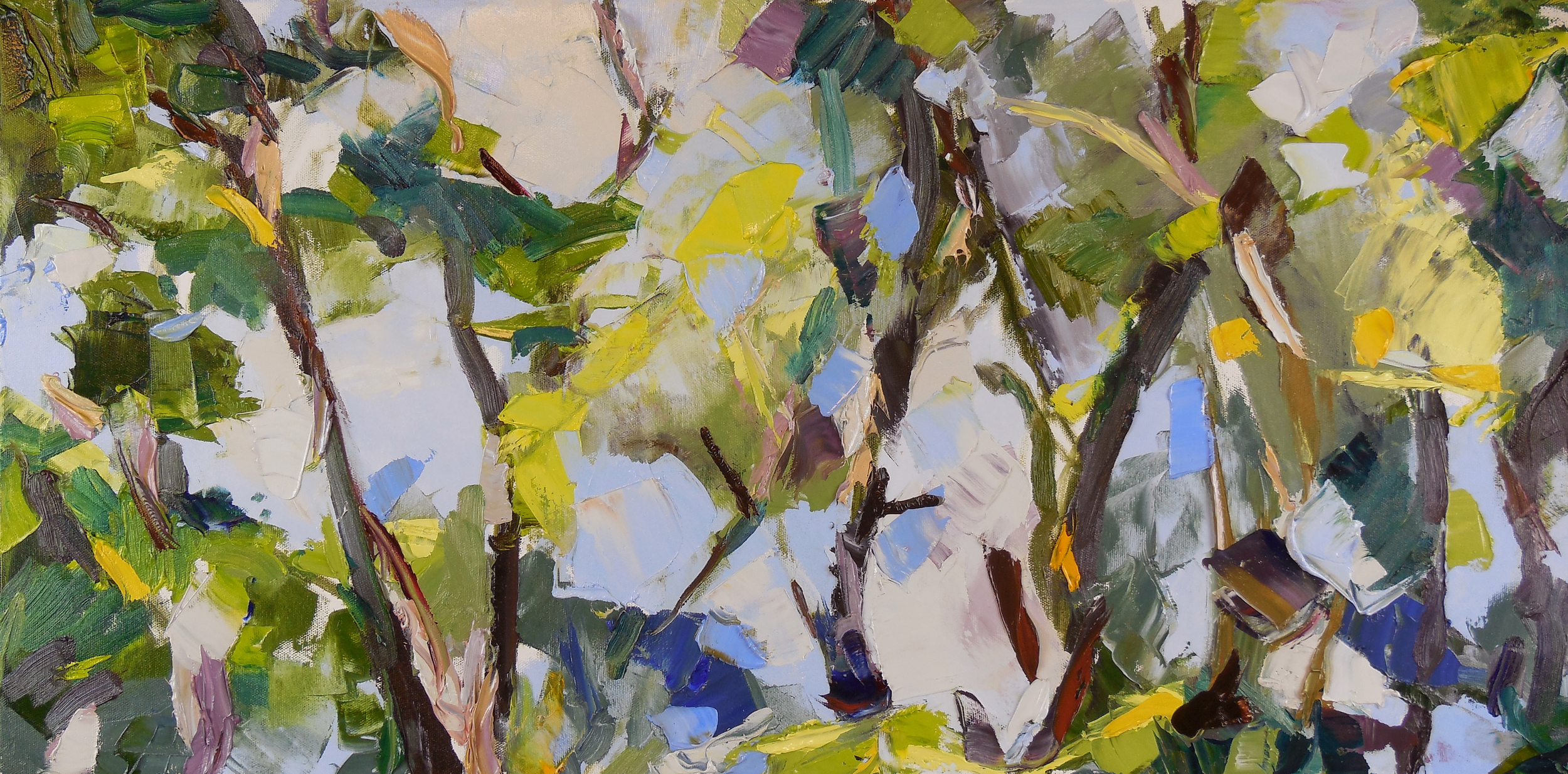 """Chaos and Landscape , 2013 Oil, 15"""" x 30"""""""