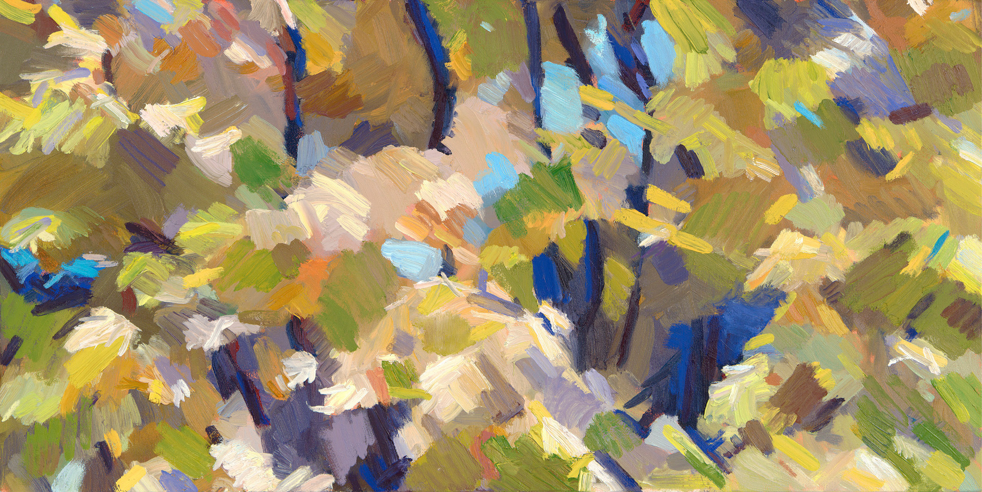 "Fall Abstract,  2013 Oil, 15"" x 30"" Sold, archival prints available"