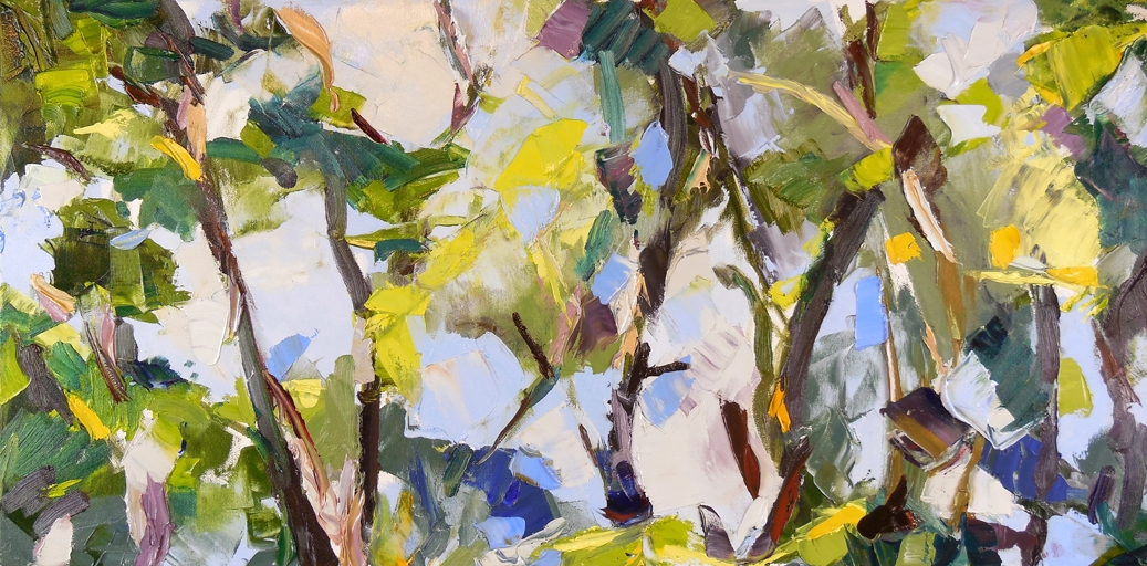 "Chaos and Landscape,  2013 Oil, 15"" x 30"" Sold"